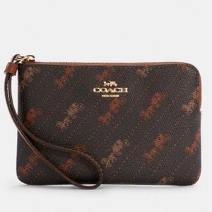 Coach Corner Zip Wristlet With Horse And Carriage